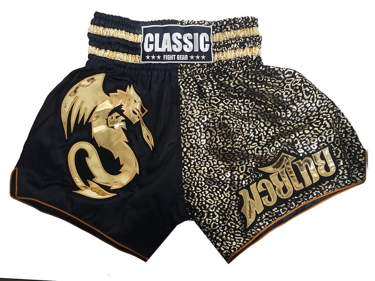 Classic Muay Thai Kick Boxing Shorts : CLS-014-Black-Gold Size XL