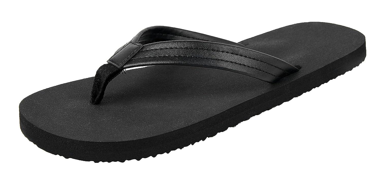 4How Men's Classic Flip Flop Thong Black Size UK 8-12