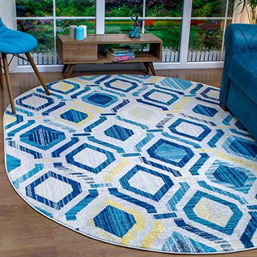 Antep Rugs Elite Collection Geometric Contemporary Distressed Indoor Area Rug Blue