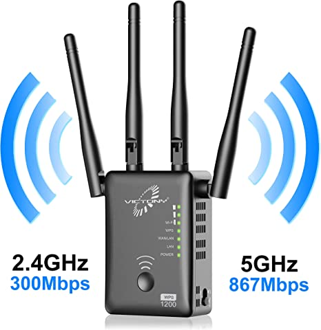 Wireless Repeater 2.4GHz Band up to 300Mbps WiFi Range Extender with WPS Internet Signal Booster Extending WiFi to Whole Home Upgrade Version 5.8GHz Band up to 867Mbps