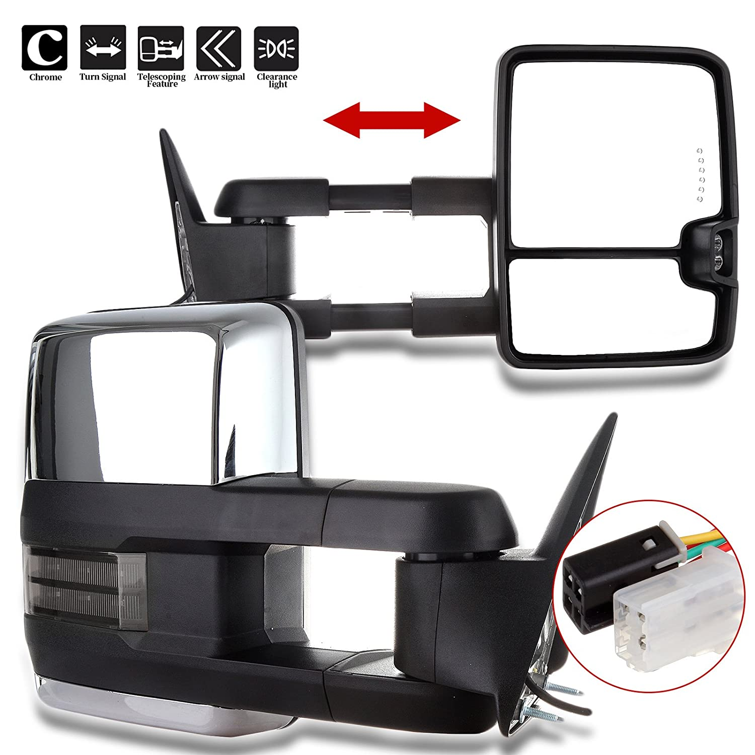 Amazon.com: ECCPP Towing Mirrors Replacement fit for 88-98 GMC C1500 C2500  C3500 K1500 K2500 K3500 Power Chrome Smoke Led Signals Passenger&Driver  Side Tow ...