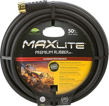 Swan Products ELSGC58050 Premium Rubber Garden MaxLite Hose, 50 Ft, Black
