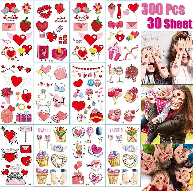 Tatuajes de San Valentín para fiestas temporales, 30 hojas de ...