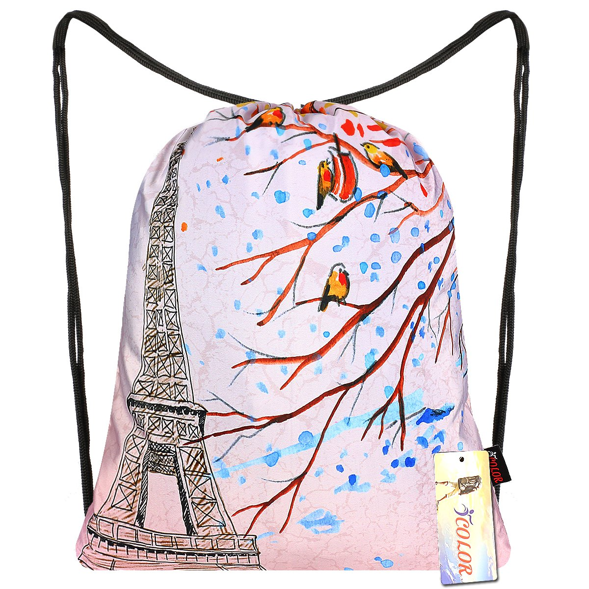 iColor Sport Sackpack,Drawstring Backpack,Stylish Multipurpose Girls Nylon Gym Bags,Teen Yoga Dance Bag,Lightweight Gym Bag for Women Cycling Hiking,Gymsack Travel Daypack 18'' x 13.8'' (Eiffel Tower) by iColor (Image #1)