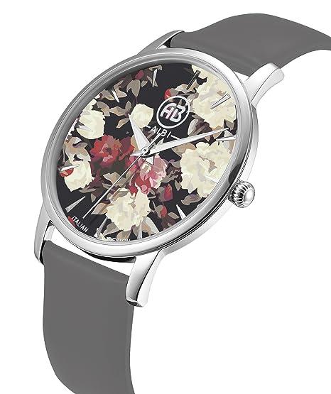 AIBI impermeable para mujer unique flor dial plata tono Retro marrón funda de cuero banda reloj