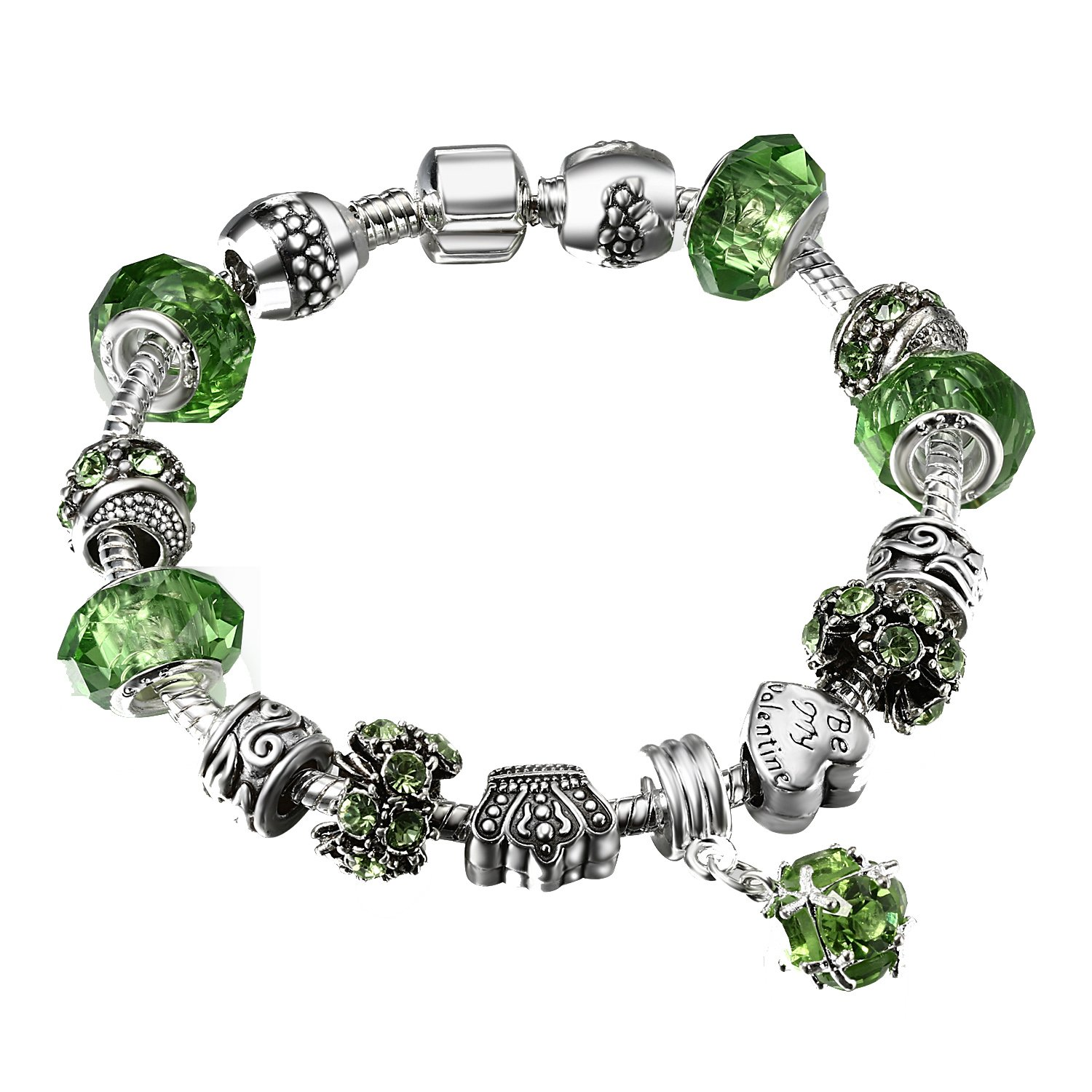 A TE Charm Bracelet Murano Glass Beads and Green Crystal St. Patrick's Day