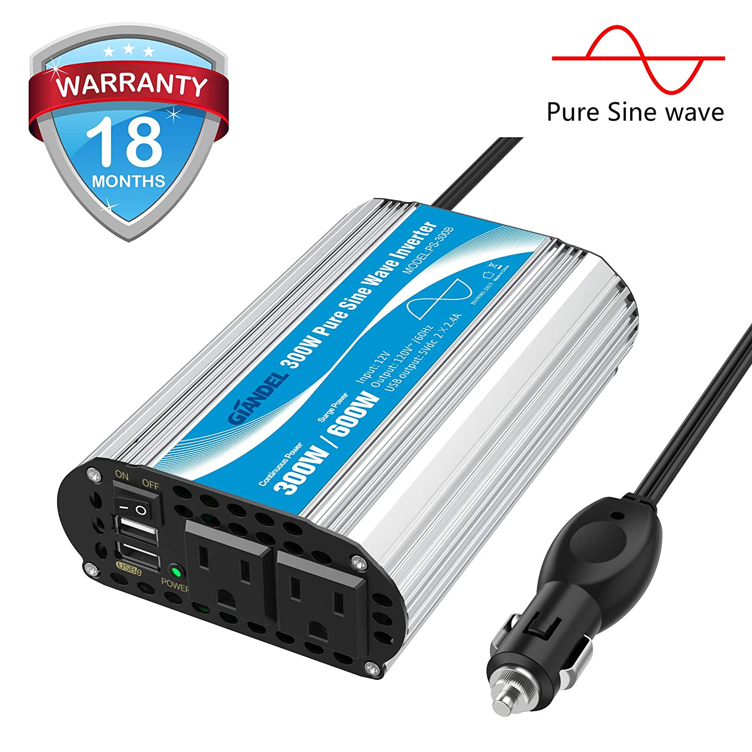 GIANDEL 300Watt Pure Sine Wave Car Power Inverter 12V DC to 120V AC 4.8A Dual USB AC outlets Tablets Laptops Smartphones