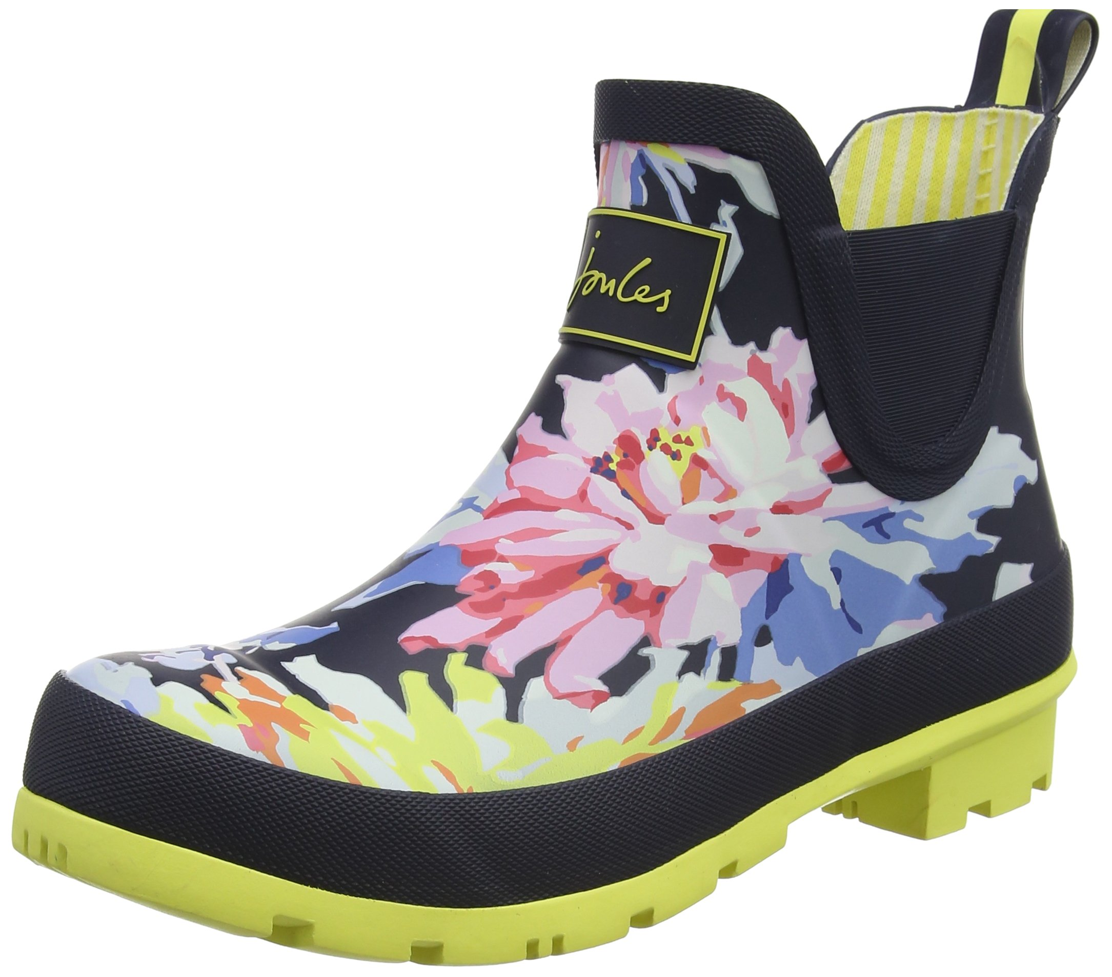 Joules Women's Wellibob Chelsea Boot Navy Whitstable Floral Rubber 7 B US