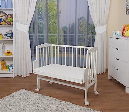 WALDIN Cuna colecho para bebé con equipamiento completo, lacado en blanco, 14 modelos a elegir a elegir,color textil rosa: Amazon.es: Bebé