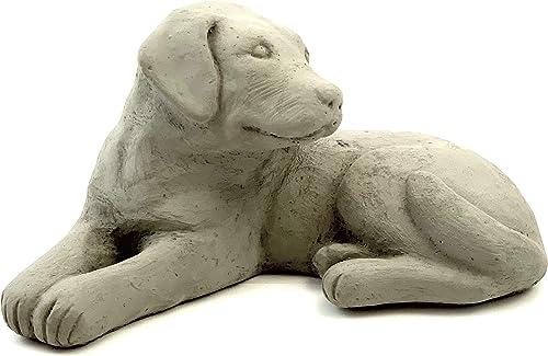 Labrador Retriever Puppy Statue: Solid Cast Stone Dog Figurine
