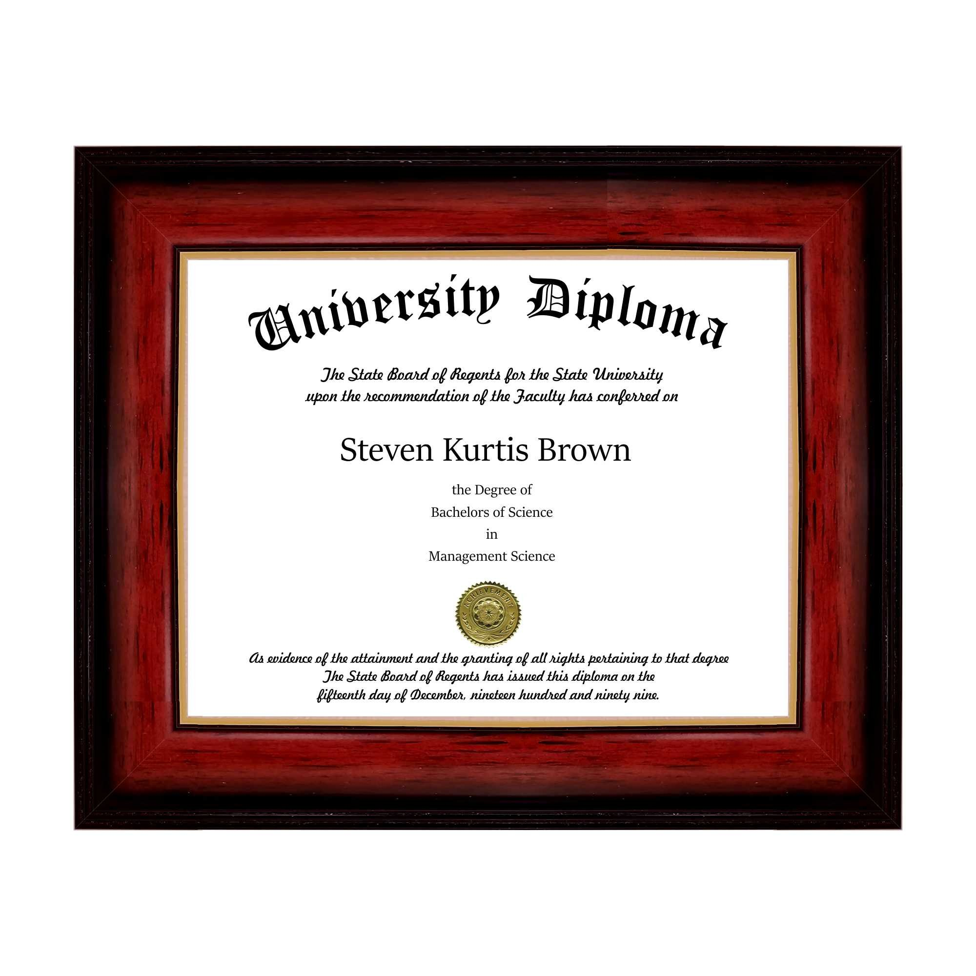 Single Diploma / Document Frame for 17'' wide x 14'' Tall Diploma