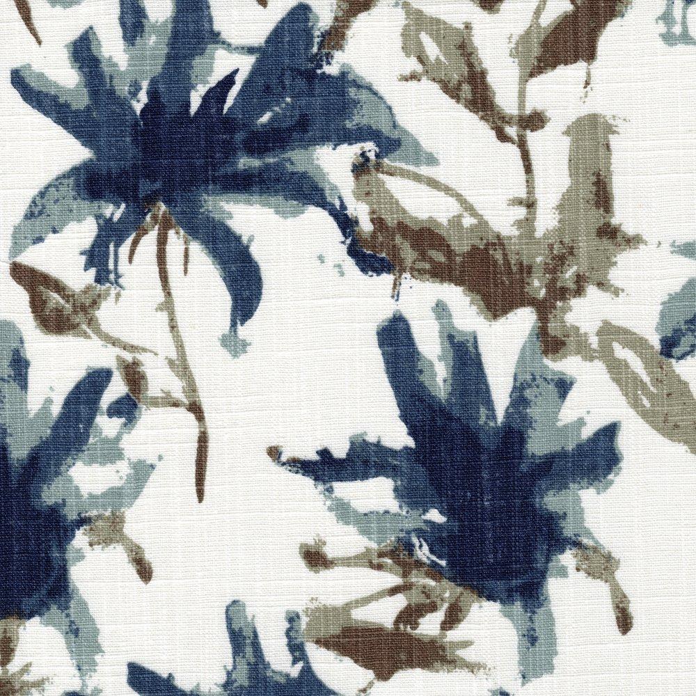 15'' Twin Tailored Bedskirt Kendal Regal Blue Watercolor Floral Cotton