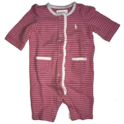 Ralph Lauren Polo Baby Girls Jacquard Coverall Romper Pink