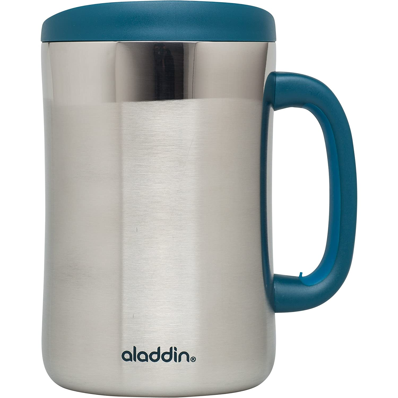 Amazon aladdin coffee mugs - Amazon Com Aladdin Stainless Steel Insulated Desktop Mug 16oz Marina Kitchen Dining