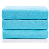 """JML Microfiber Bath Towels, Bath Towel 3 Pack(27"""" x 55""""), Soft, Super Absorbent and Fast Drying, Multipurpose Use for Sports, Travel, Fitness, Yoga - Sky Blue"""