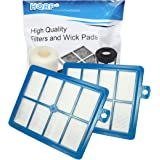 HQRP 2-Pack Hepa Filter compatible with Electrolux Harmony, Oxygen, Oxygen Ultra, Oxygen 3 Ultra Canister, Aptitude…