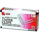ACCO Non-Skid Paper Clips, No.4 Jumbo Size, Silver, Box of 100 Clips (5050572585)