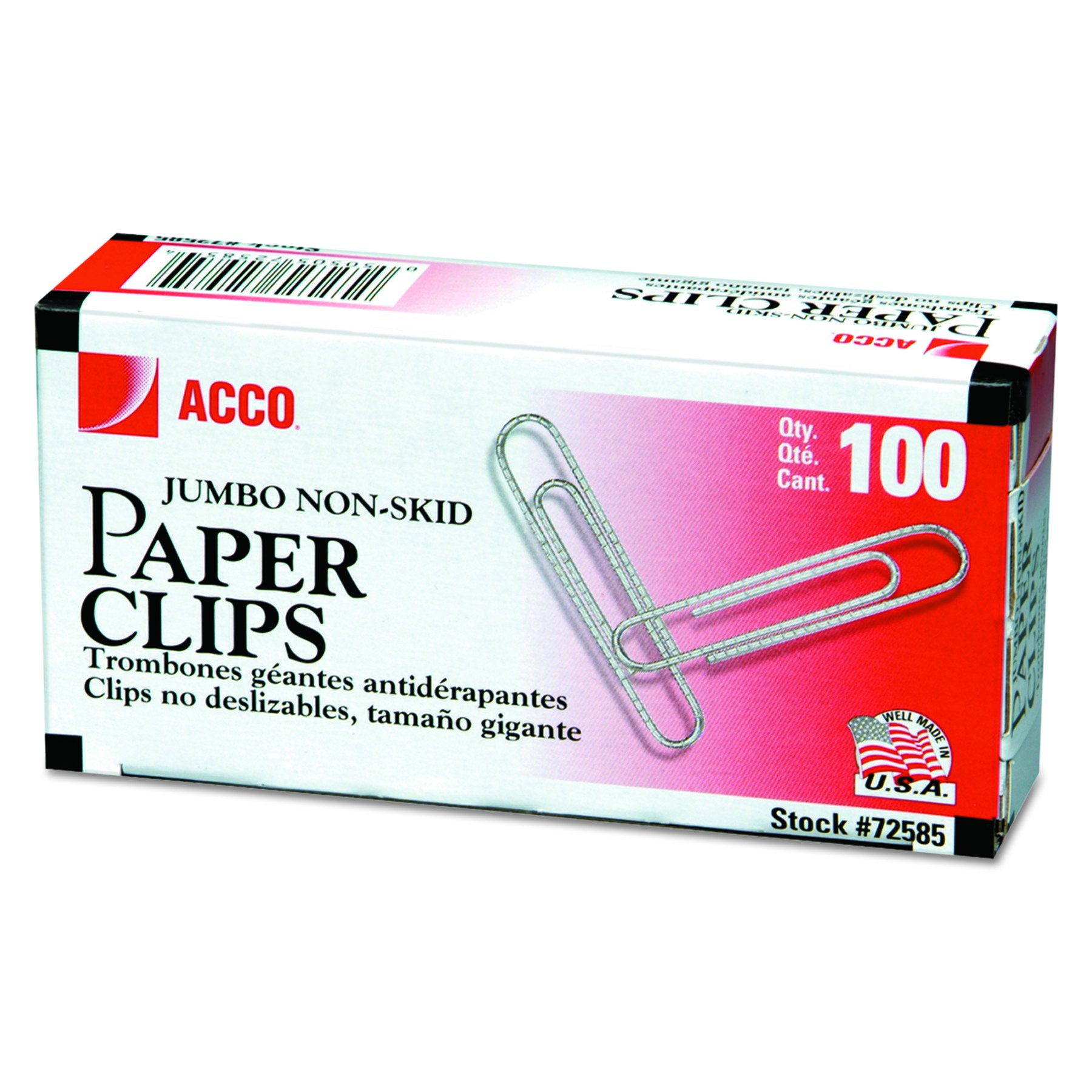 ACCO Economy Jumbo Paper Clips, Non-skid Finish, Jumbo Size 1-7/8'', 100 count (Pack Of 10)