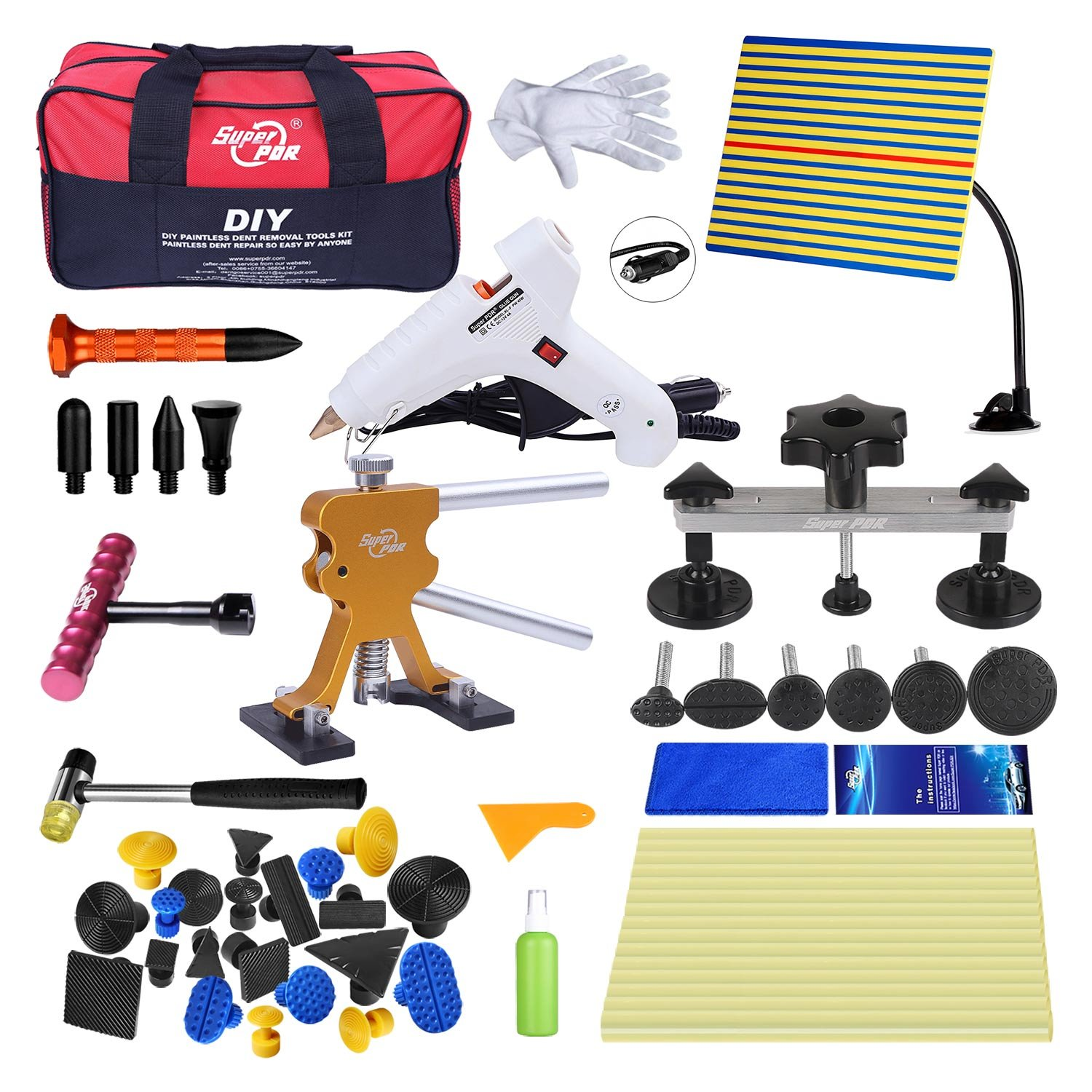 Super PDR 45 pcs PDR Tool Set Automobile Car Body Paintless Dent Repair Remover Tools Kit Hail Damage Repair Tools Dent Lifter Bridge Puller Glue Gun with Slide Hammer
