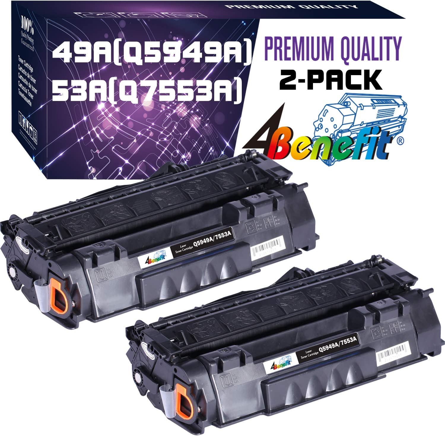 (1-Pack, Black) Compatible 49A 53A Toner Cartridge Q7553A Q5949A Used for HP Laserjet 1320 1320n P2015dn P2015 P2015n 3390 3392 1160 P2014 M2727nf MFP Printer, by 4Benefit