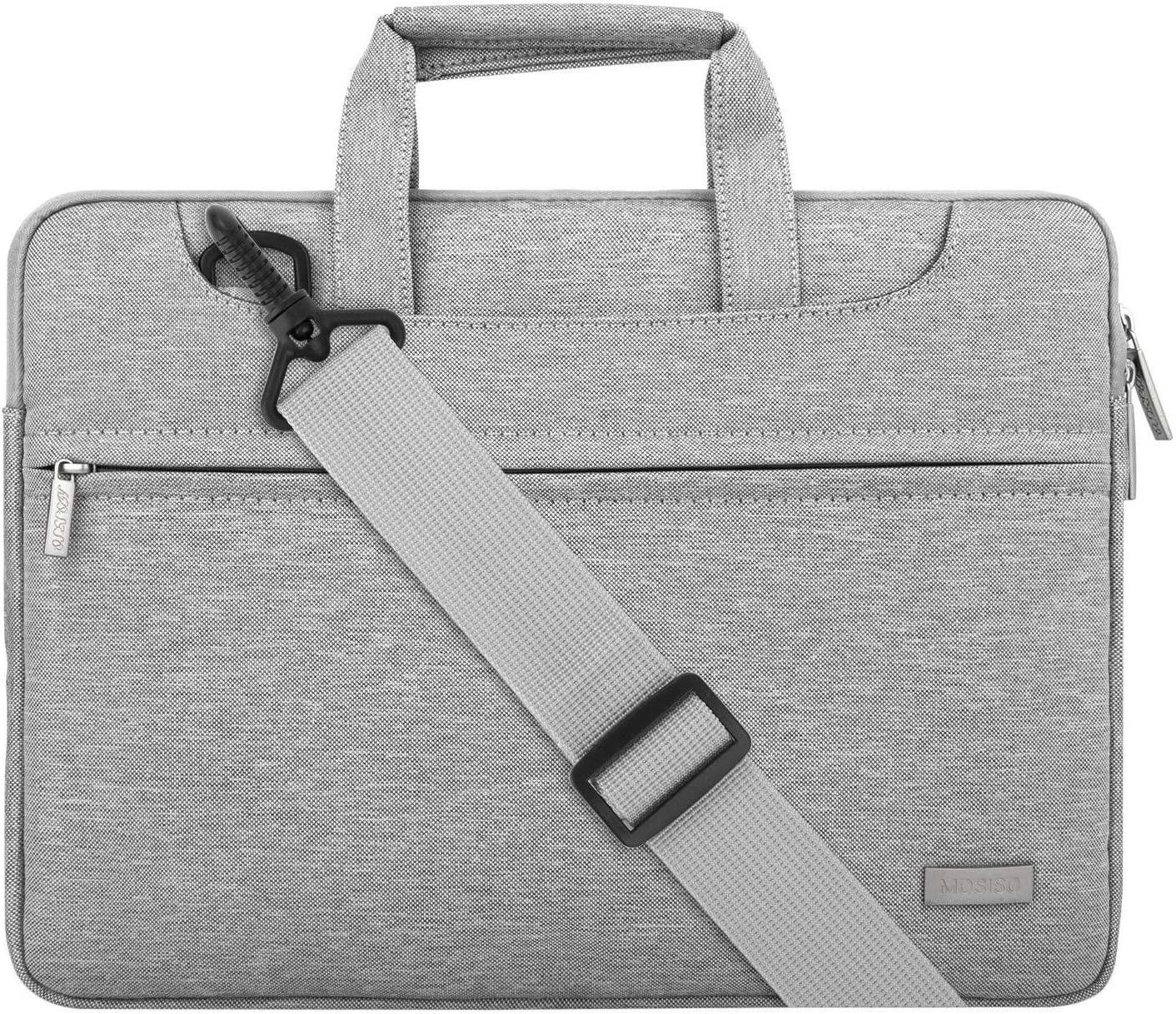 MOSISO Laptop Shoulder Bag Compatible with 13-13.3 inch MacBook Pro, MacBook Air, Notebook Computer, Polyester Sleeve with Back Trolley Belt, Light Gray