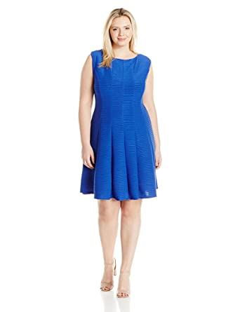 8821a8320d5 Julian Taylor Women's Plus Size Full Figured Solid Fit and Flare Dress at  Amazon Women's Clothing store: