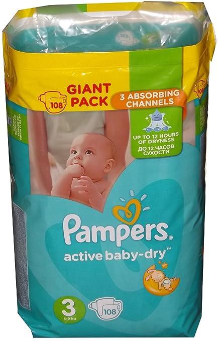 Pampers Active Baby-Dry - Pañales, 108 unidades, absorción media, talla 3