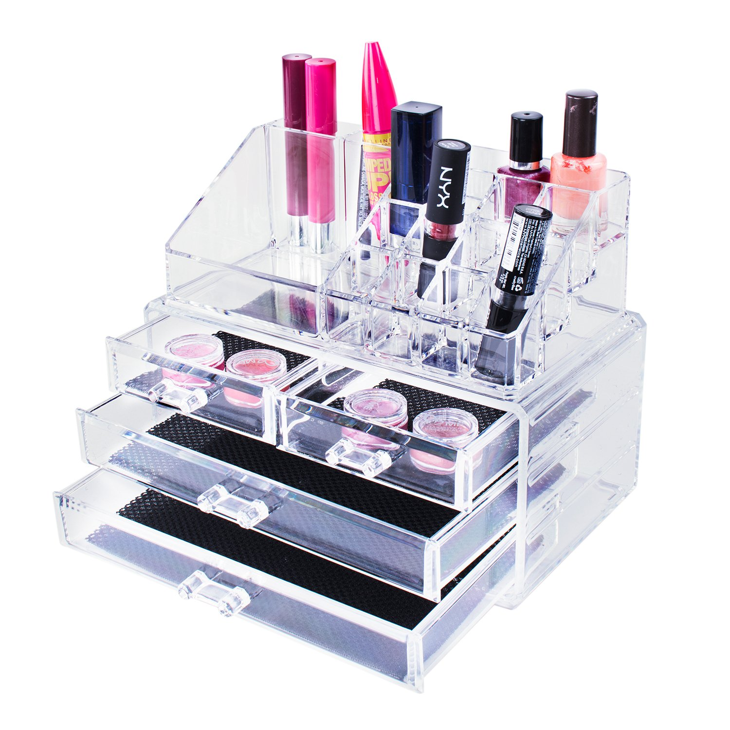Transparent Cosmetic Makeup Acrylic Organizer Drawers Set for Lipstick, Brushes, Bottles, Jewelry and More. Clear Case Display Rack Storage Holder 2 Piece Set
