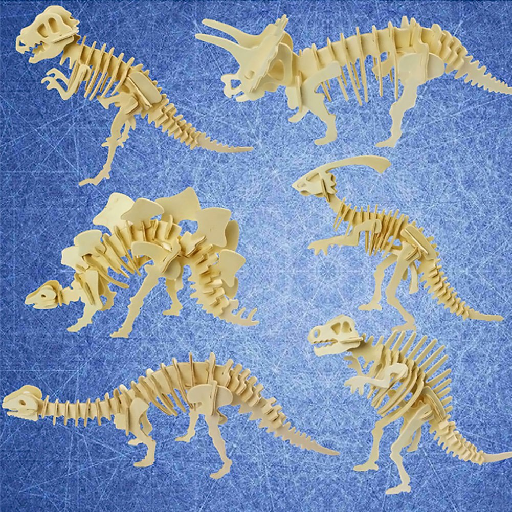 Dinosaur 3D Wooden Puzzle, Stegosaurus Triceratops Tyrannosaurus Spinosaurus Brontosaurus Hadrosaurus DIY Models Set Puzzle Gift Brain Teaser Toy for Kids Adult