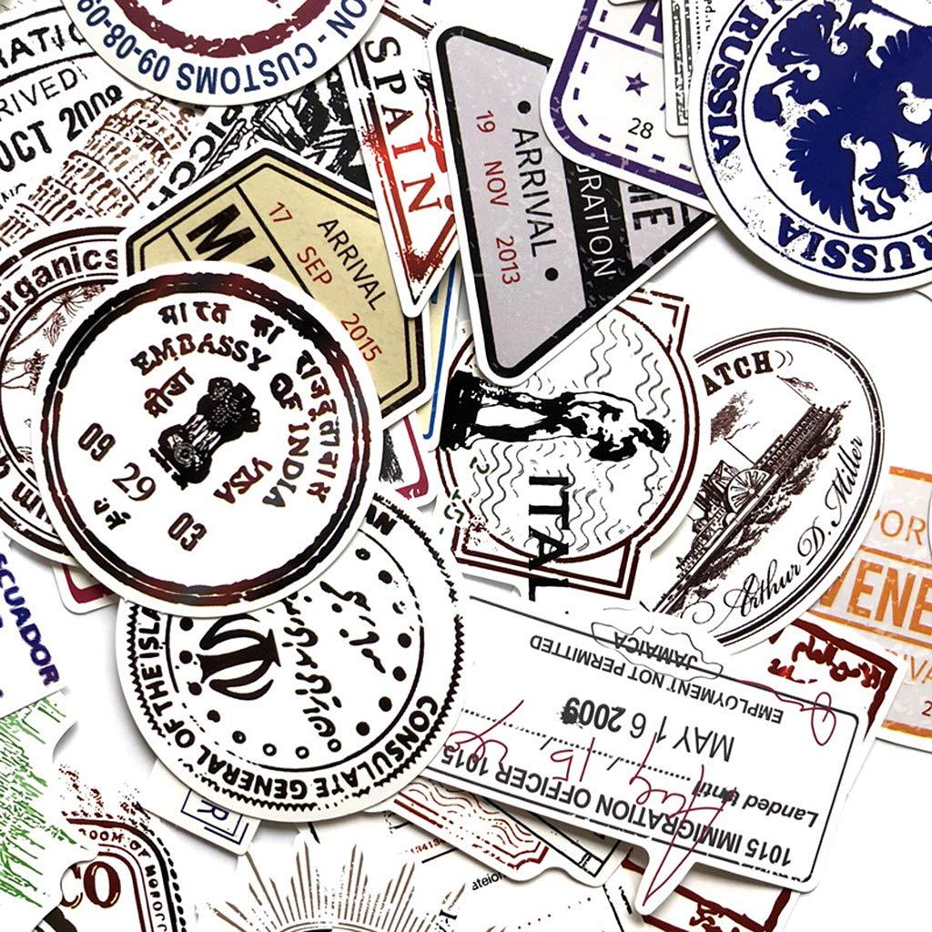 Fafalloagrron 60Pcs Vintage Graffiti Stamps Paper Sticker Travel Hand Account Notebook Phone Case Scrapbook Decorations Retro Gifts