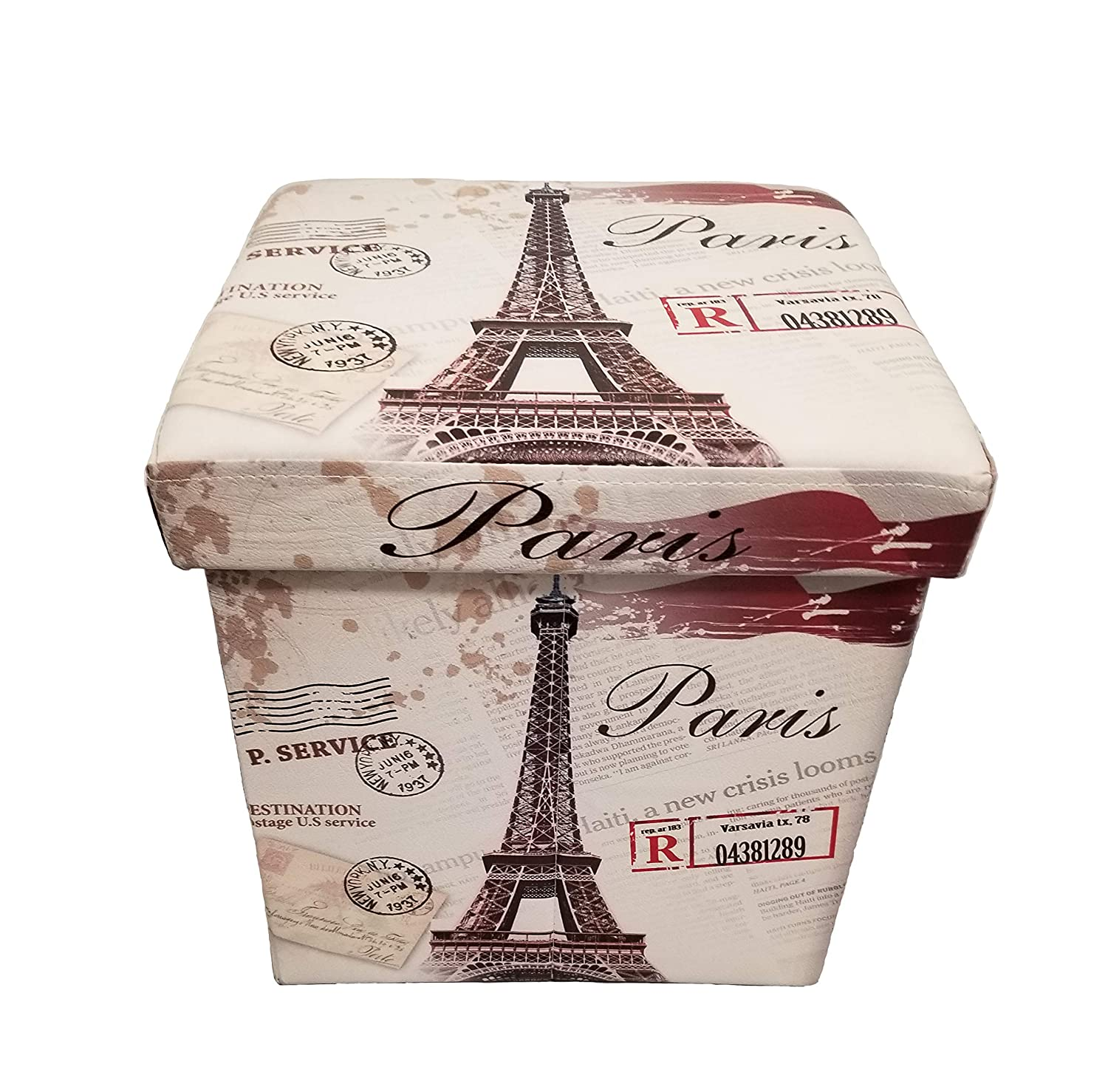 Superb Mk Home Folding Paris Eiffel Tower Beige Leather Ottoman Pouffe Foot Rest Coffee Table Cube Bench With Padded Seat And Storage Compartment New Bralicious Painted Fabric Chair Ideas Braliciousco