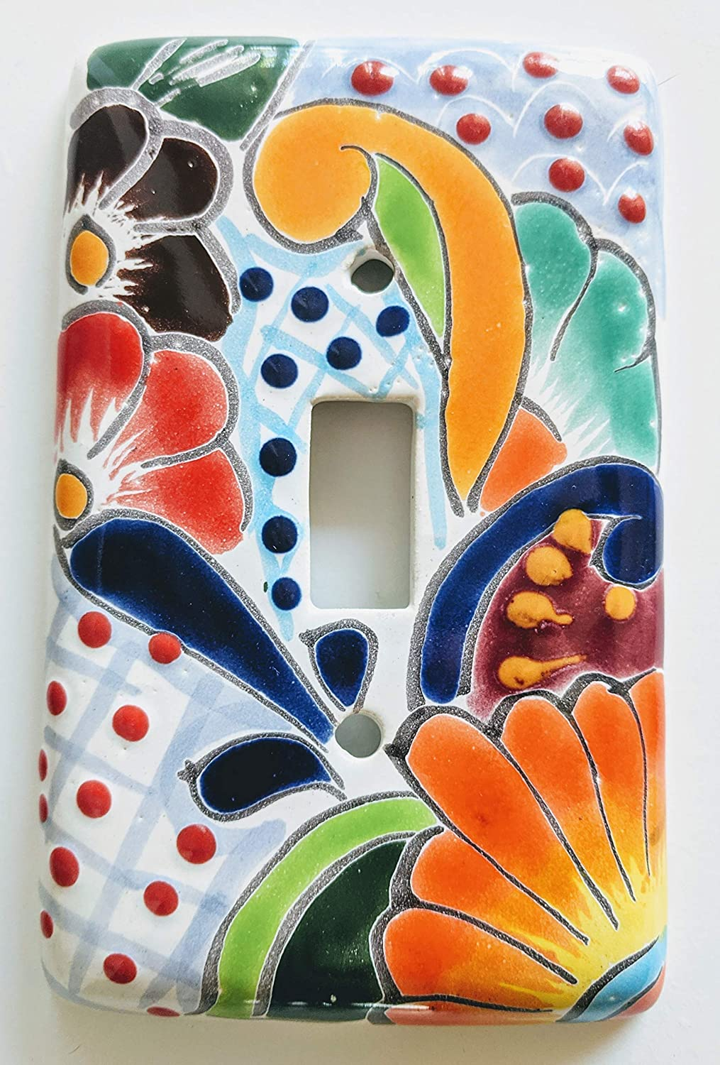 Mexican Talavera Toggle Lightswitch Cover Plates. Designs and Colors Vary!