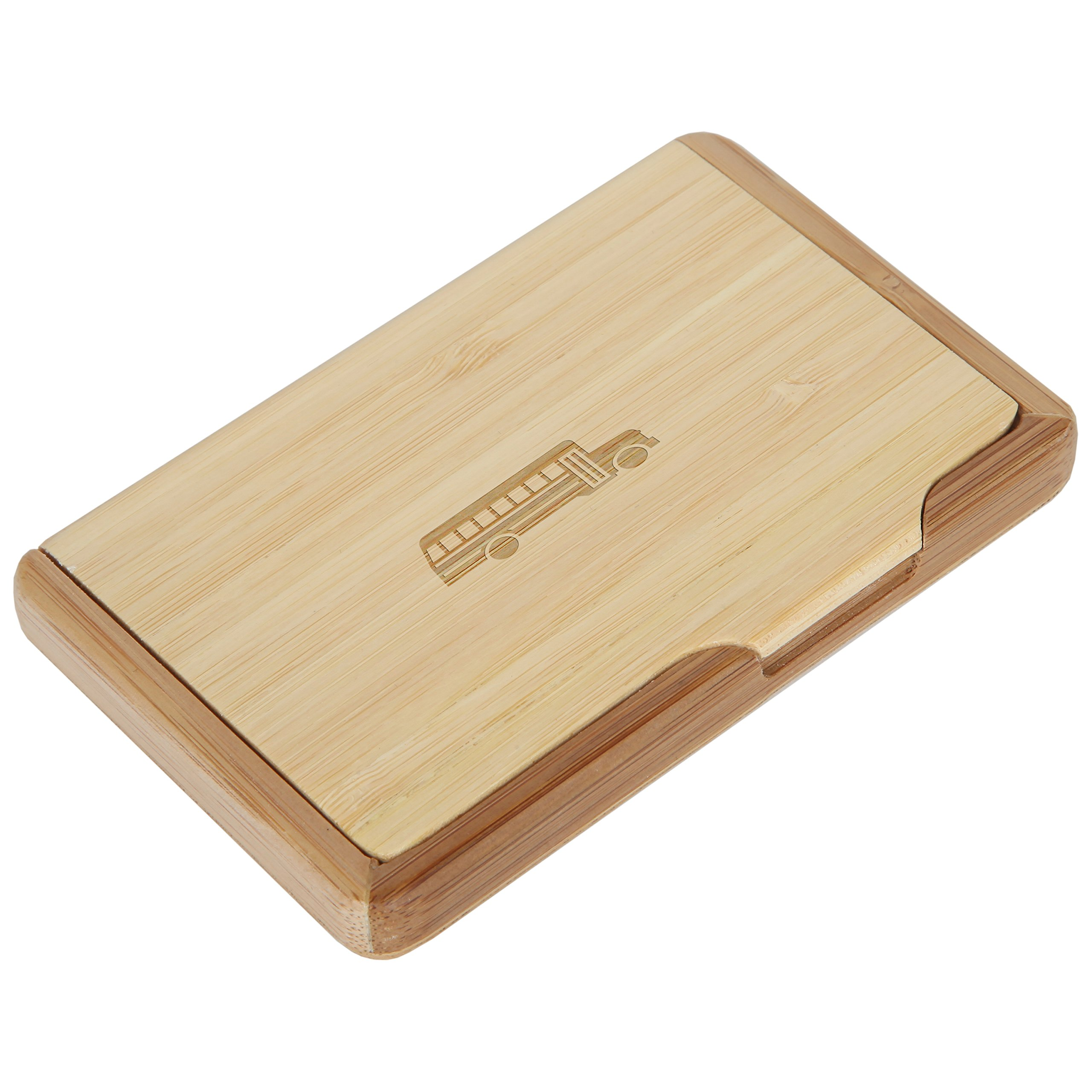 School Bus Bamboo Business Card Holder With Laser Engraved Design - Business Card Keeper - Holds Up To 10 Cards - Lightweight Calling Card Case