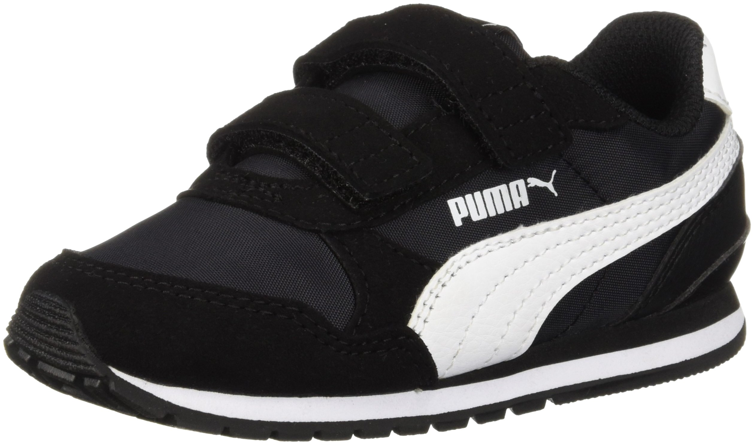 PUMA Unisex-Baby ST Runner NL Velcro Kids Sneaker, Black-White, 9 M US Toddler