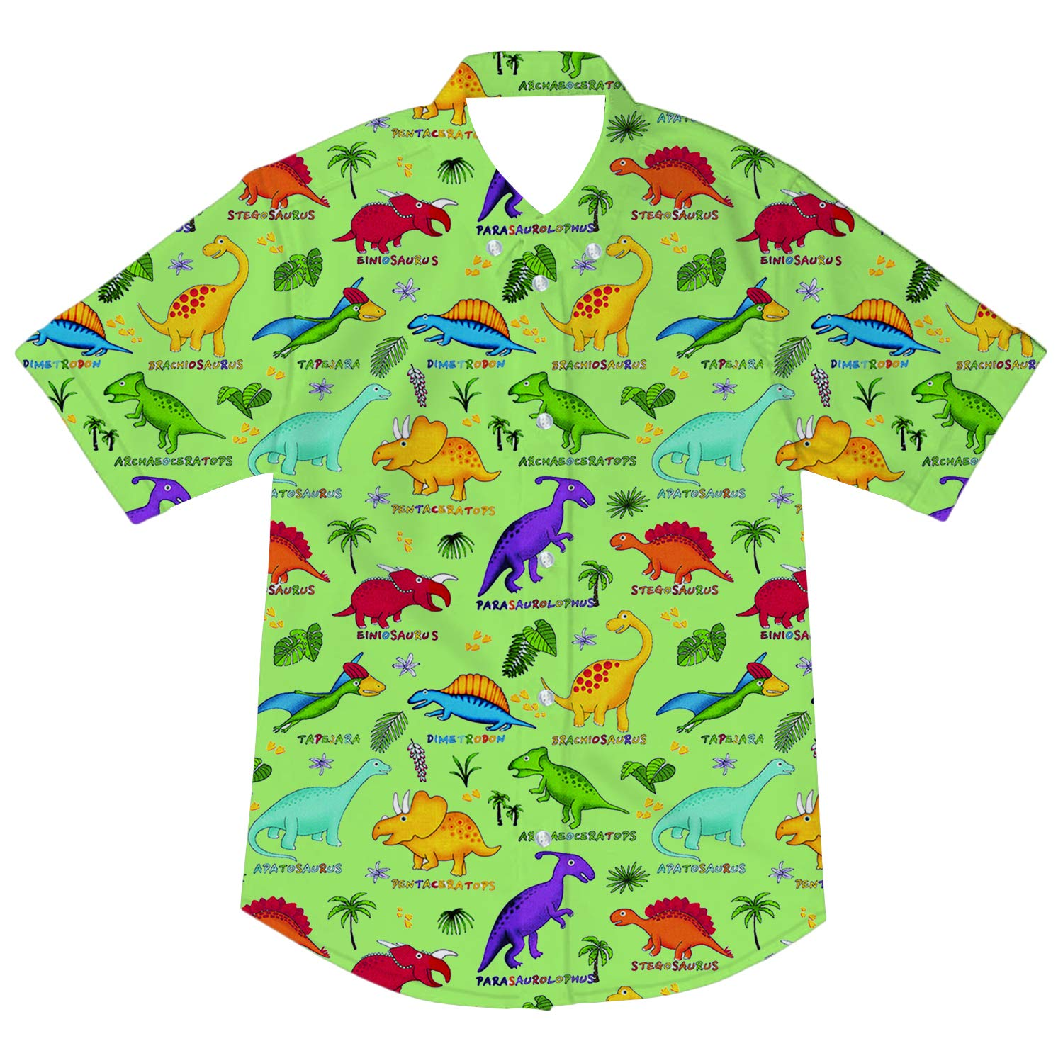 Goodstoworld Boys Button Down Shirts Kids Casual Short Sleeve Cotton Button Up Cool Dinosaur Print Tees Tops Blouse 5-6T