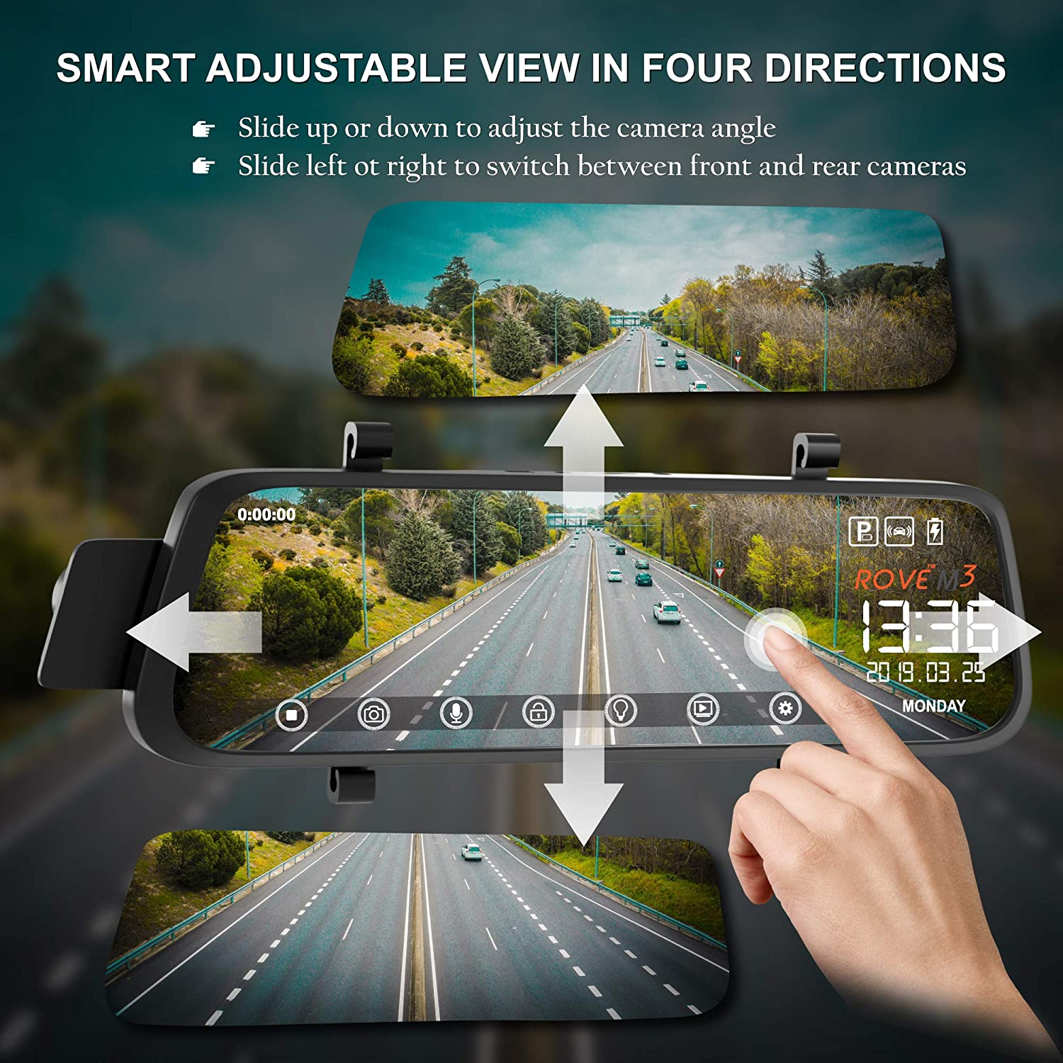 FHD 1080p Front and Rear View 9.66 Inch Touch Screen Monitor Dual Lens Dash Cam with Built in Backup Camera Parking G-Sensor Motion Detection GPS Player Rove M3 Streaming Mirror Dashboard Camera