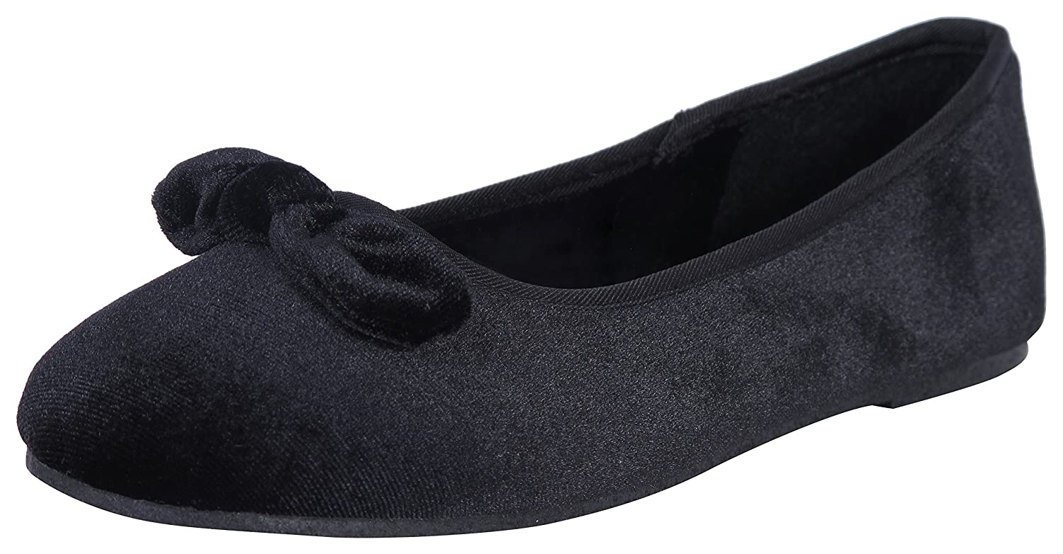 Rugged Bear Girls Velvet Ballet Flats with Love Knot Bow