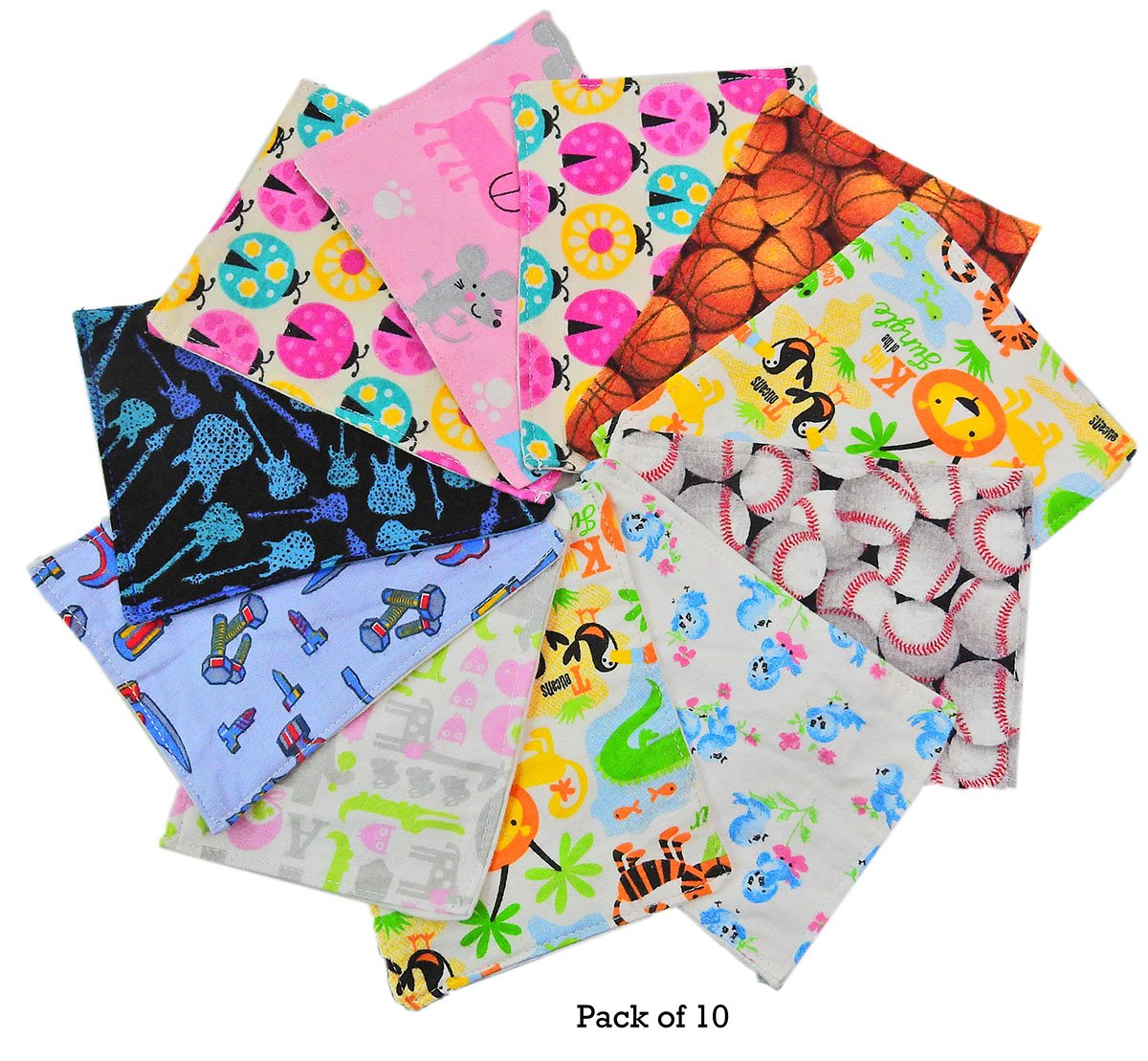 Wonder Care - Reusable Baby Cloth Wipes 5x 7 Inches- 100% Cotton Flannel Cloth- 2 Layers-ultra Soft - Assorted Color Prints with Free Box - (10 Count) by Wonder Care Surgifab Trading corp.