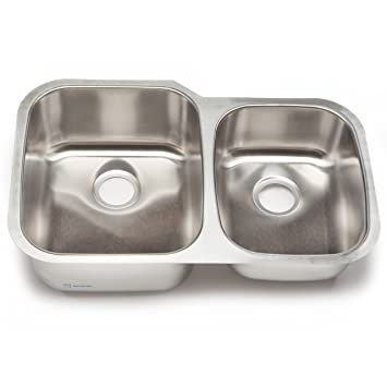 Clark Stainless SS043 32-Inch Undermount 60/40 Double Bowl ...