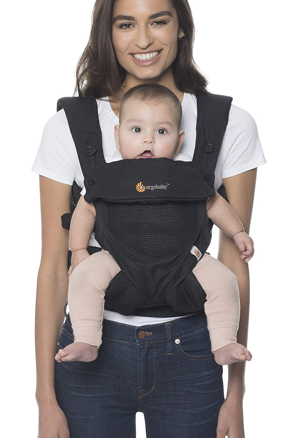 Black 360 All Carry Positions Soft Infant Carrier Front and Back with Hood and Neck Support Infant and Toddler Baby Carrier One Size Fit All Season Perfect to Hiking Shopping Travel for Newborn