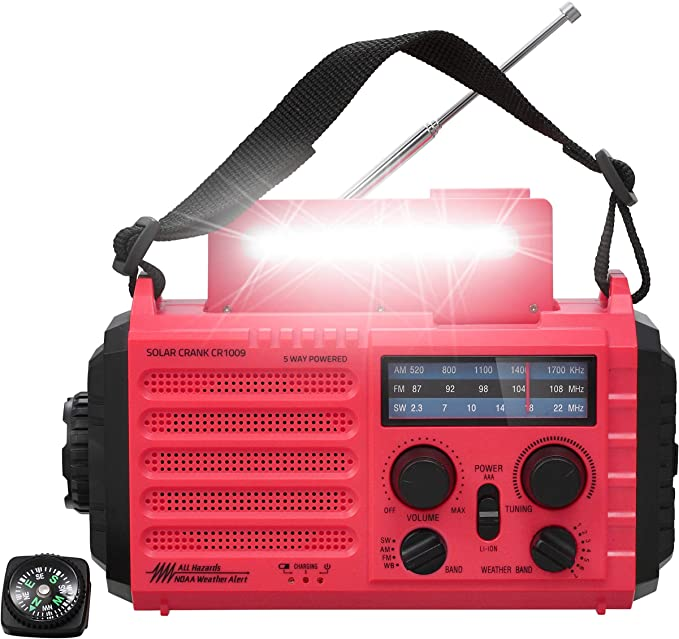 Color : Red AM//FM Solar Radio 2000mAh Power Bank Wind Up Radios with Phone Charger and LED Reading Lamp 3 Power Methods Sdesign Emergency Hand Crank Radio