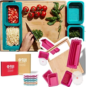 Soji ZenPrep Bamboo Cutting Board for Kitchen - Collapsible Silicone Food Storage Containers Trays (Rose)