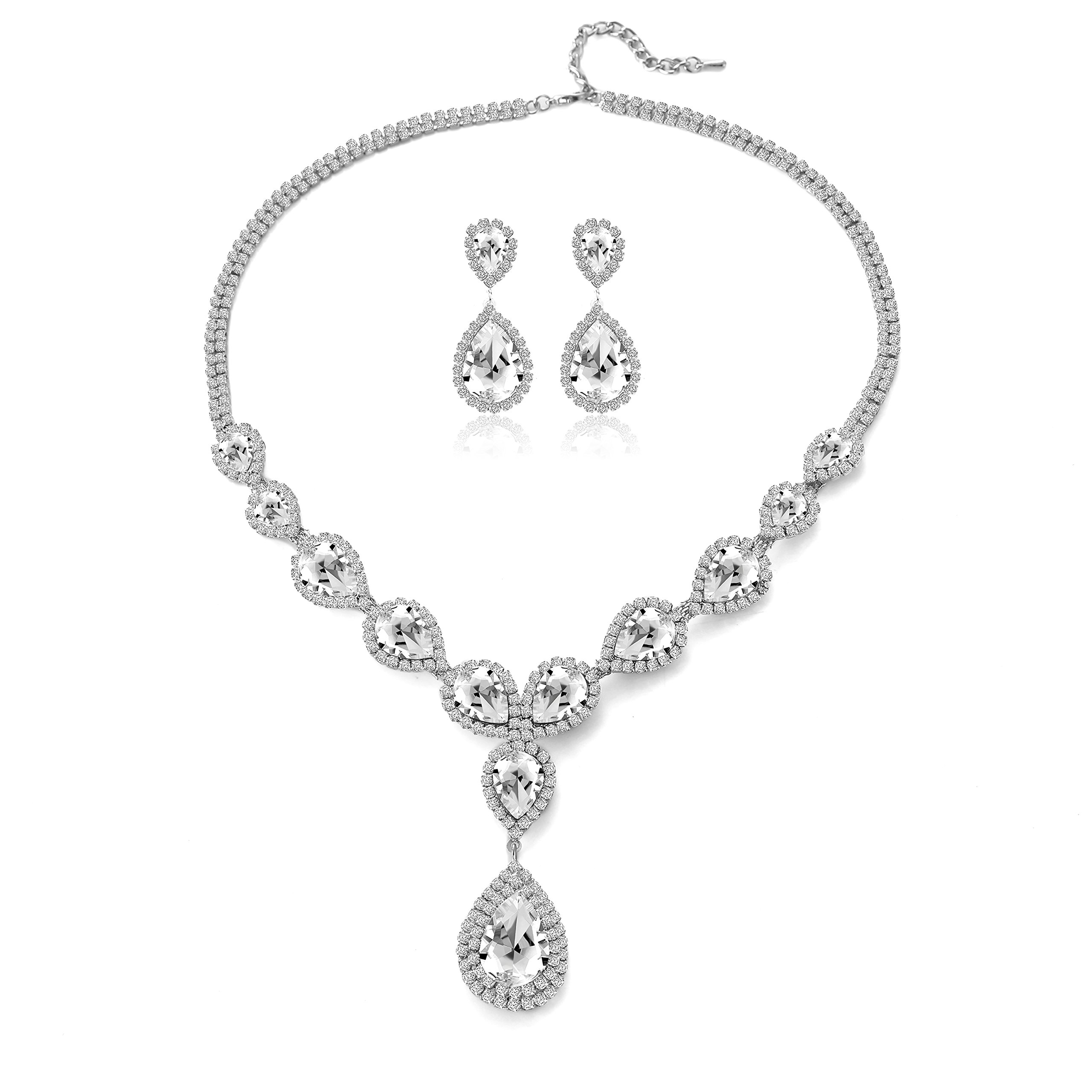 Paxuan Womens Silver/Gold Plated Teardrop White Champagne Crystal Wedding Bridal Jewelry Set Teardrop Pendant Necklace Drop Dangle Earrings Set (Silver Plated White Crystal)