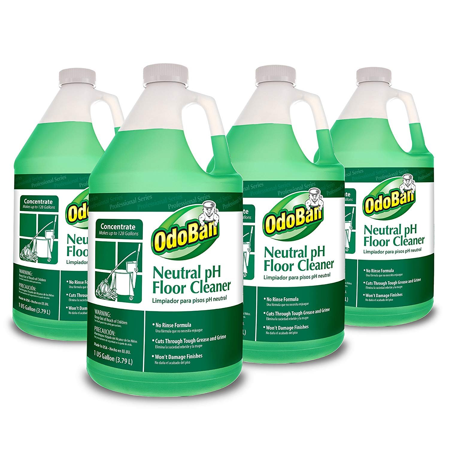 OdoBan Professional Series No Rinse Neutral pH Floor Cleaner Concentrate, 4 Gal