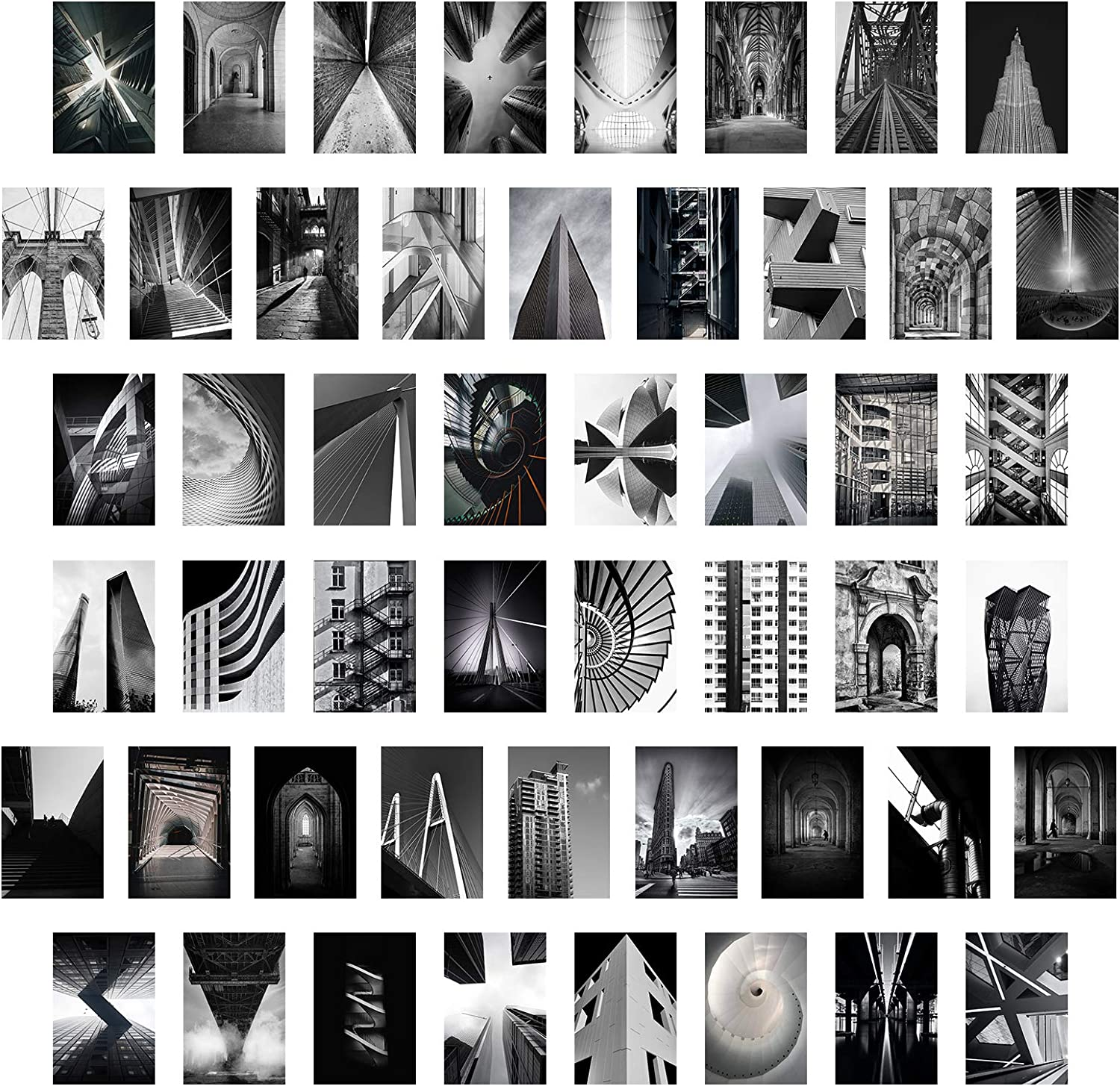 Black White Wall Collage Kit - City Landscape Pictures 50 Set 4x6 Inch Teen Girl Room Decor for Bedroom Aesthetic Home Office Dorm Decoration Photo Collection Modern Building Art Print VSCO Posters