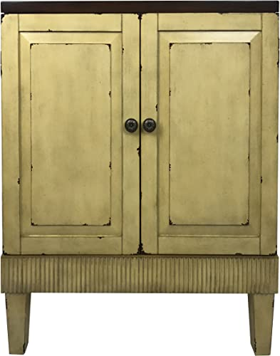 Callie Hand Painted Distressed Wooden Accent Cabinet Ivory