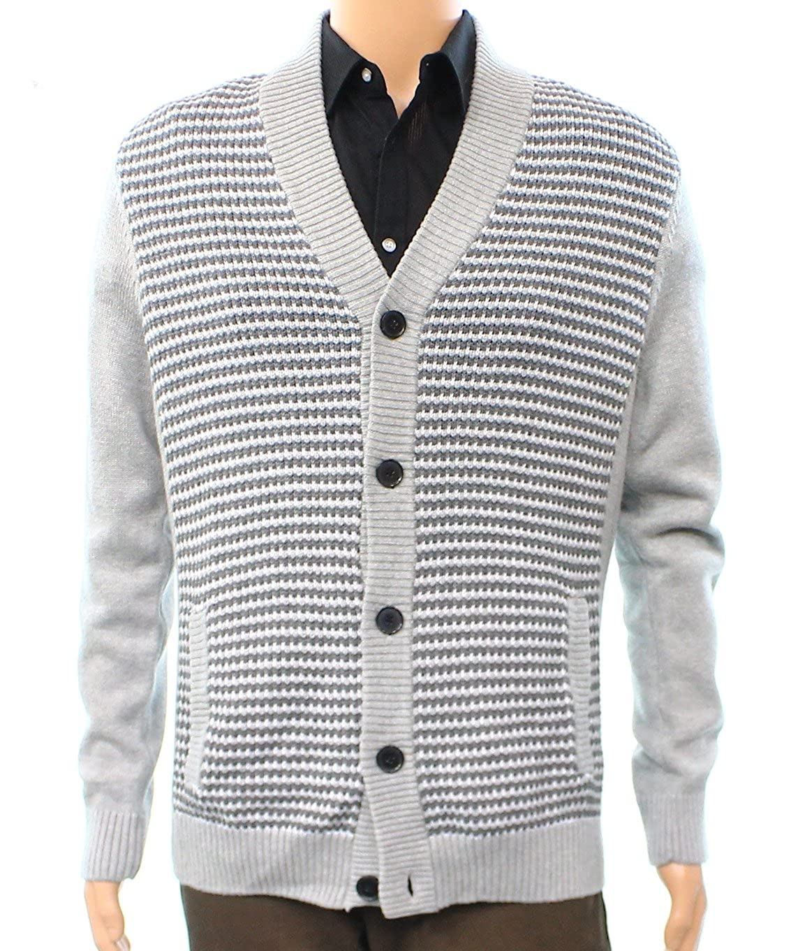 Alfani Mens Ribbed Knit Trim Colorblock Cardigan Sweater 14318CRD