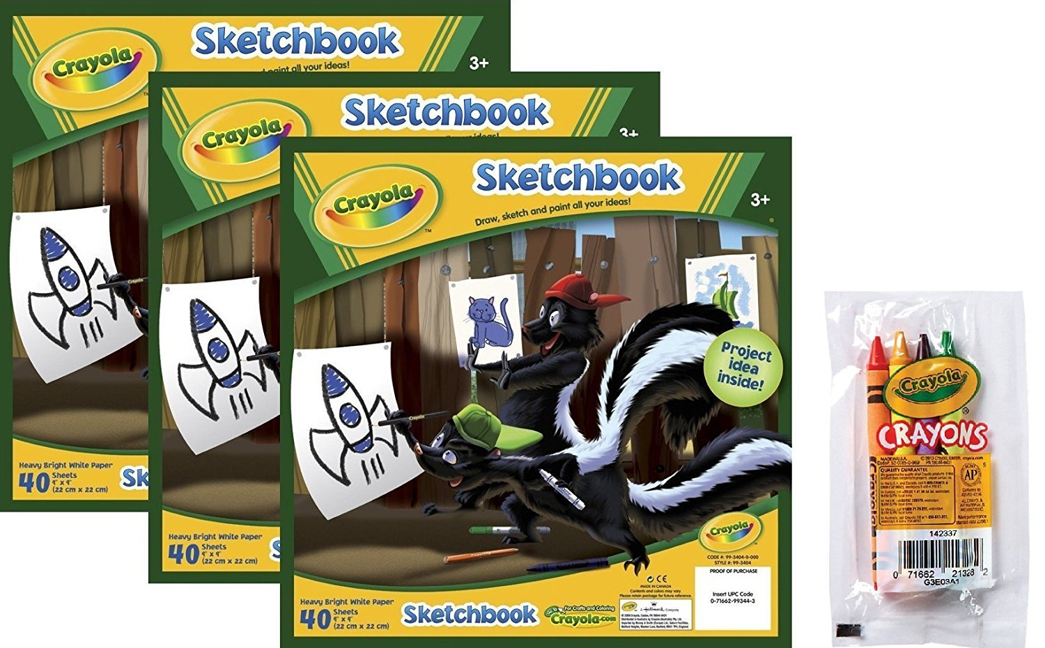 Crayola Sketchbook 120 Total Sheets 3-Pack Bundled with a 4-Pack of Cello Wrapped Crayola Crayons 99-3404