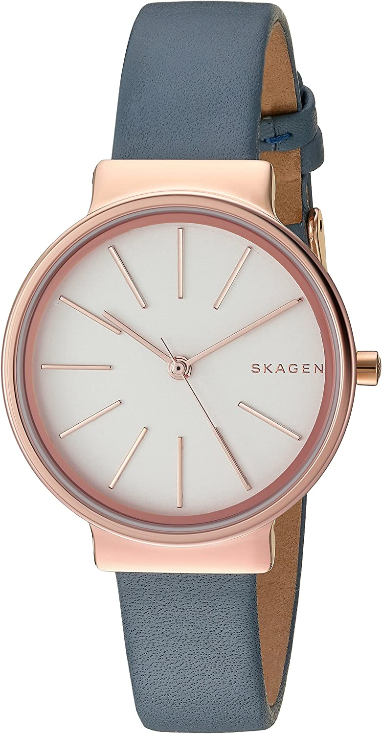 Skagen Women s Ancher Watch in Rose Goldtone with Blue Leather Strap