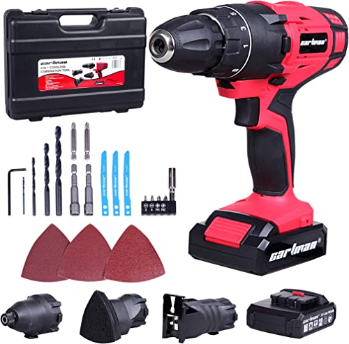 CARTMAN 4-IN-1 Cordless Combo Kit, 2x20V Battery Pack – Screwdriver, Jigsaw, Sander Impact Wrench